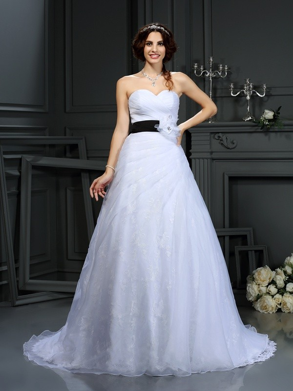 Court Train A-Line/Princess Sweetheart Sleeveless Sash/Ribbon/Belt Satin Wedding Dresses