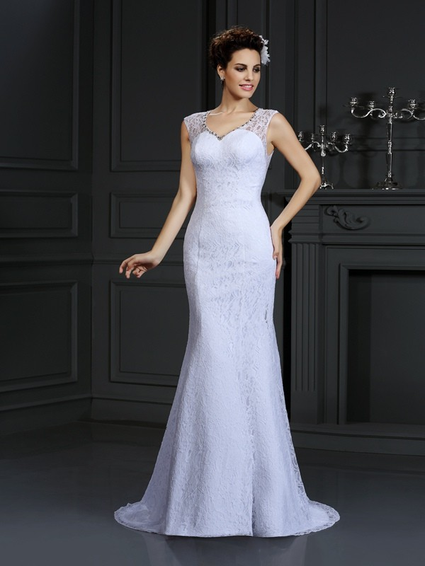 Court Train Sheath/Column V-neck Sleeveless Lace Satin Wedding Dresses