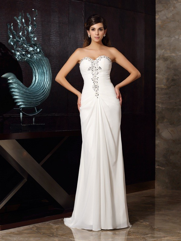Sweep/Brush Train Trumpet/Mermaid Sweetheart Sleeveless Beading Chiffon Dresses