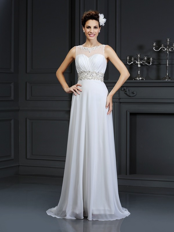 Chapel Train A-Line/Princess Bateau Sleeveless Ruffles Chiffon Wedding Dresses