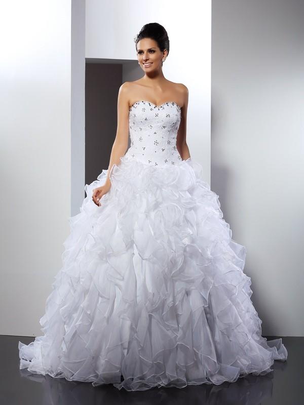 Court Train Ball Gown Sweetheart Sleeveless Ruffles Satin Wedding Dresses