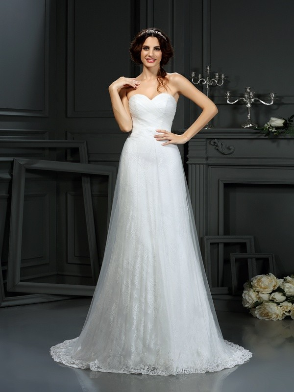 Court Train A-Line/Princess Sweetheart Sleeveless Pleats Net Wedding Dresses