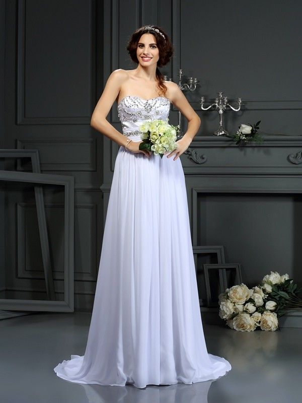 Court Train A-Line/Princess Sweetheart Sleeveless Beading Chiffon Wedding Dresses