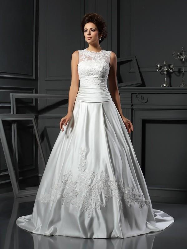 Chapel Train A-Line/Princess High Neck Sleeveless Applique Satin Wedding Dresses