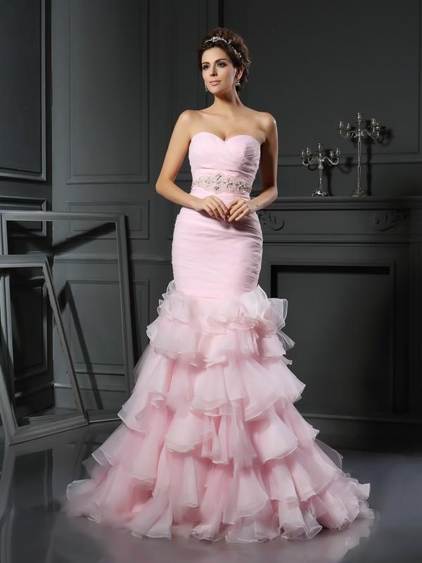 Chapel Train Trumpet/Mermaid Sweetheart Sleeveless Beading Organza Wedding Dresses