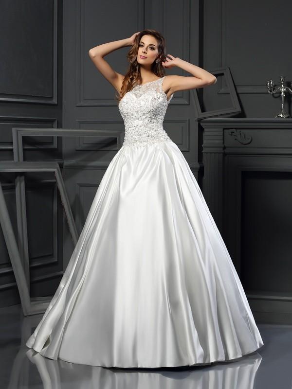 Chapel Train Ball Gown Scoop Sleeveless Applique Satin Wedding Dresses