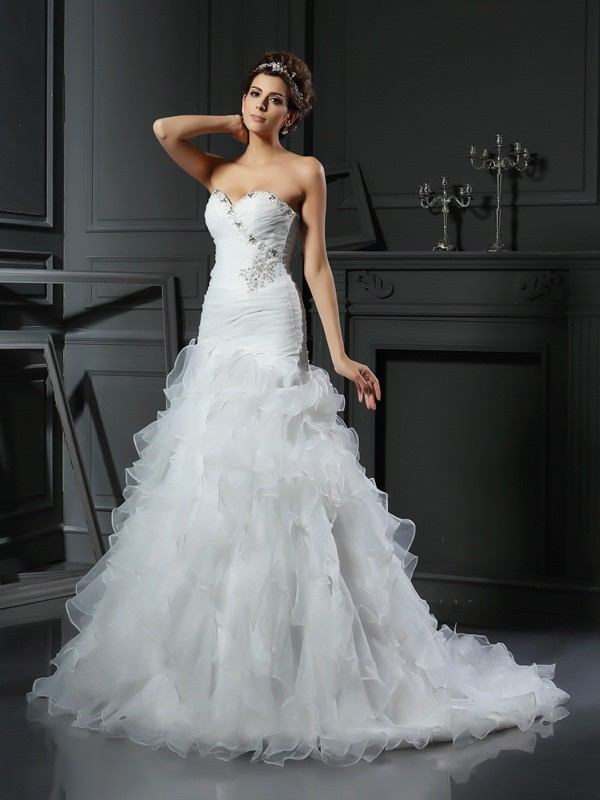 Chapel Train Trumpet/Mermaid Sweetheart Sleeveless Ruffles Organza Wedding Dresses