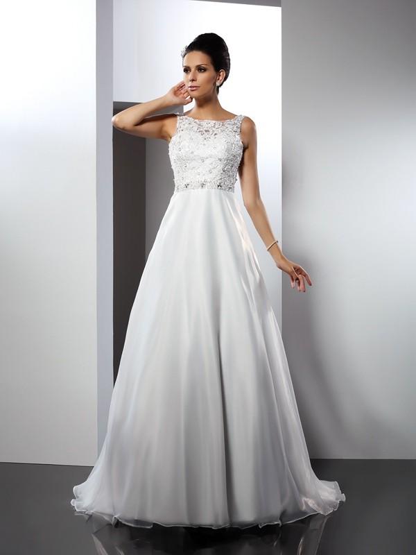 Chapel Train A-Line/Princess Scoop Sleeveless Ruffles Satin Wedding Dresses