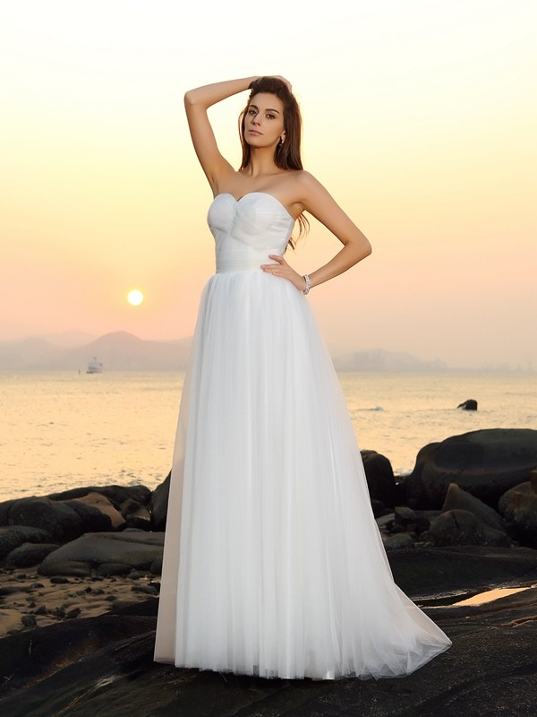 Sweep/Brush Train A-Line/Princess Sweetheart Sleeveless Other Net Wedding Dresses