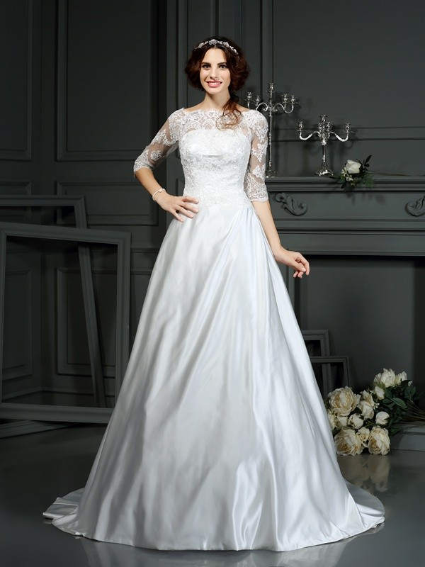 Court Train A-Line/Princess Bateau 1/2 Sleeves Lace Satin Wedding Dresses