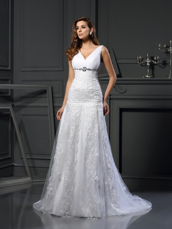 Chapel Train A-Line/Princess V-neck Sleeveless Beading Satin Wedding Dresses
