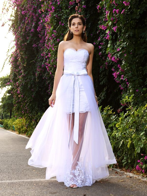 Floor-Length Trumpet/Mermaid Sweetheart Sleeveless Applique Tulle Wedding Dresses