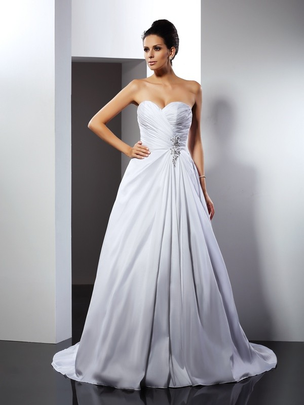 Court Train A-Line/Princess Sweetheart Sleeveless Ruffles Satin Wedding Dresses