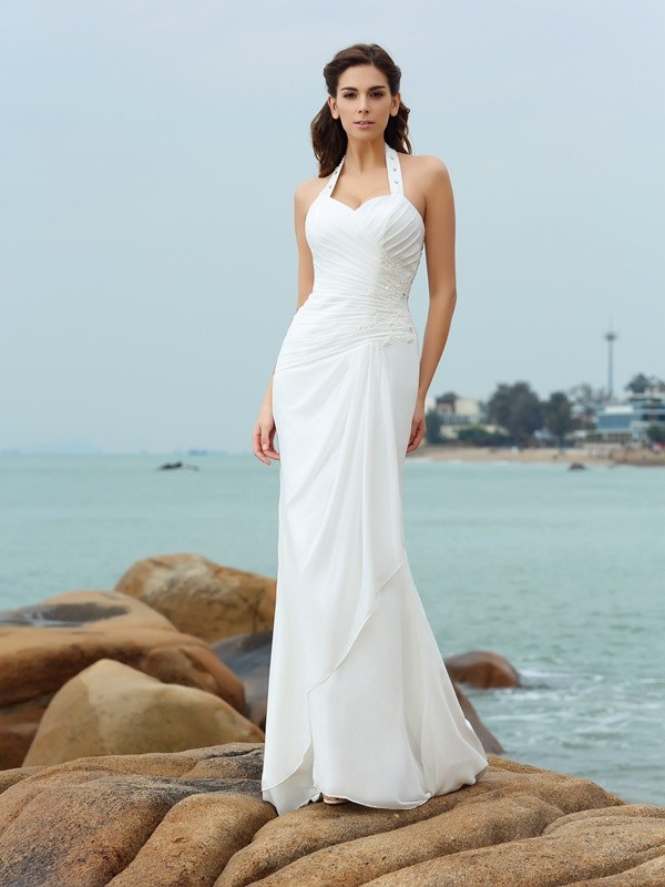 Court Train Sheath/Column Halter Sleeveless Pleats Chiffon Wedding Dresses