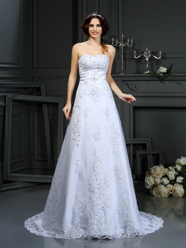 Court Train A-Line/Princess Strapless Sleeveless Applique Satin Wedding Dresses