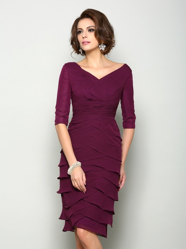 Knee-Length Sheath/Column V-neck 1/2 Sleeves Other Chiffon Mother of the Bride Dresses