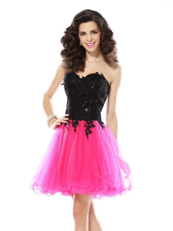 Short/Mini A-Line/Princess Sweetheart Sleeveless Lace Net Dresses
