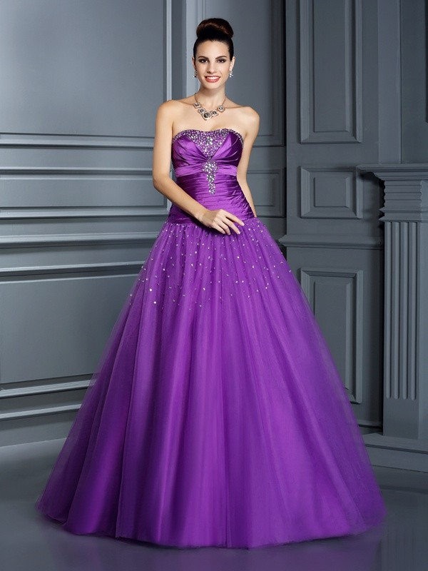 Floor-Length Ball Gown Strapless Sleeveless Other Taffeta Dresses