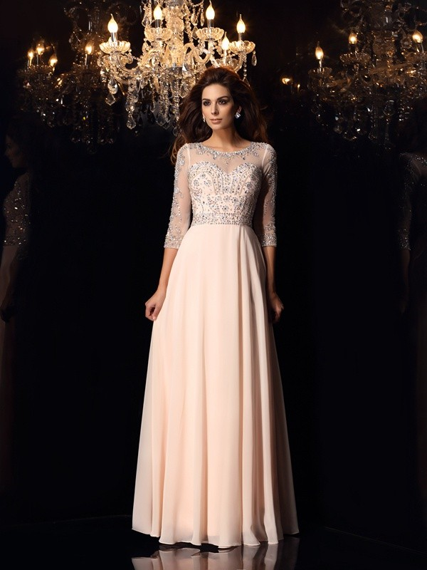 Floor-Length A-Line/Princess Scoop 3/4 Sleeves Beading Chiffon Dresses