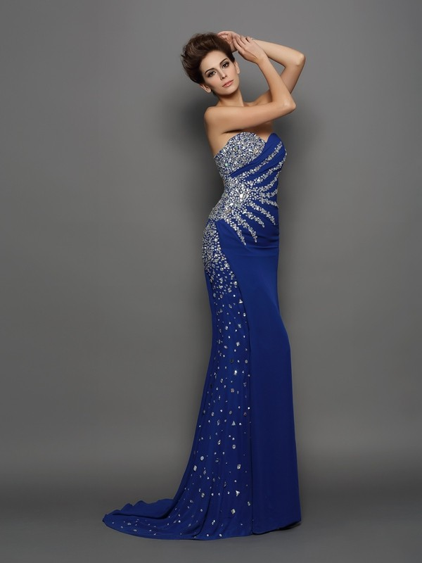 Court Train Trumpet/Mermaid Sweetheart Sleeveless Rhinestone Chiffon Dresses