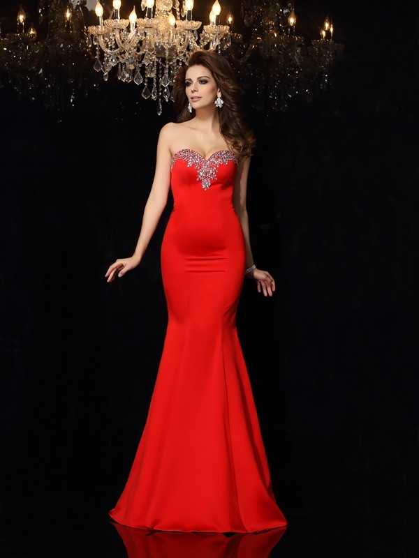 Court Train Sheath/Column Sweetheart Sleeveless Beading Satin Dresses