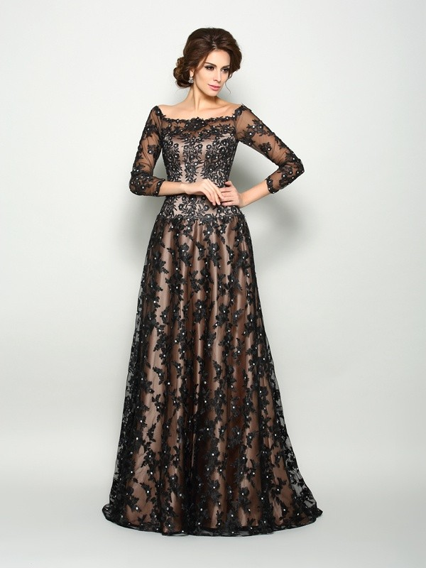 Court Train A-Line/Princess Off-the-Shoulder 3/4 Sleeves Lace Satin Mother of the Bride Dresses
