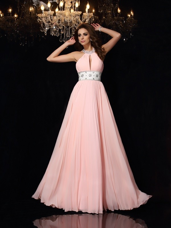 Floor-Length A-Line/Princess High Neck Sleeveless Pleats Chiffon Dresses