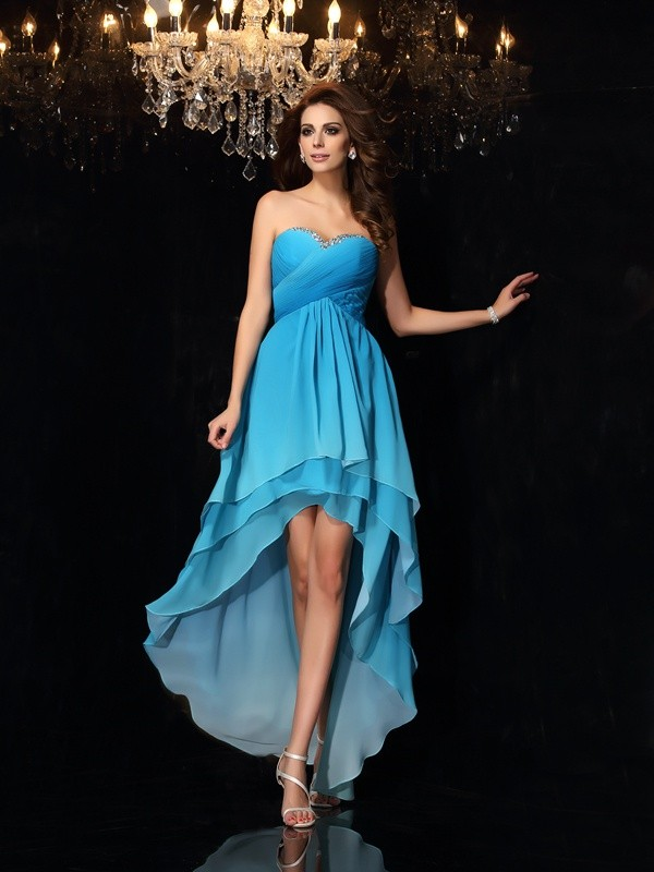 Asymmetrical A-Line/Princess Sweetheart Sleeveless Ruched Chiffon Dresses