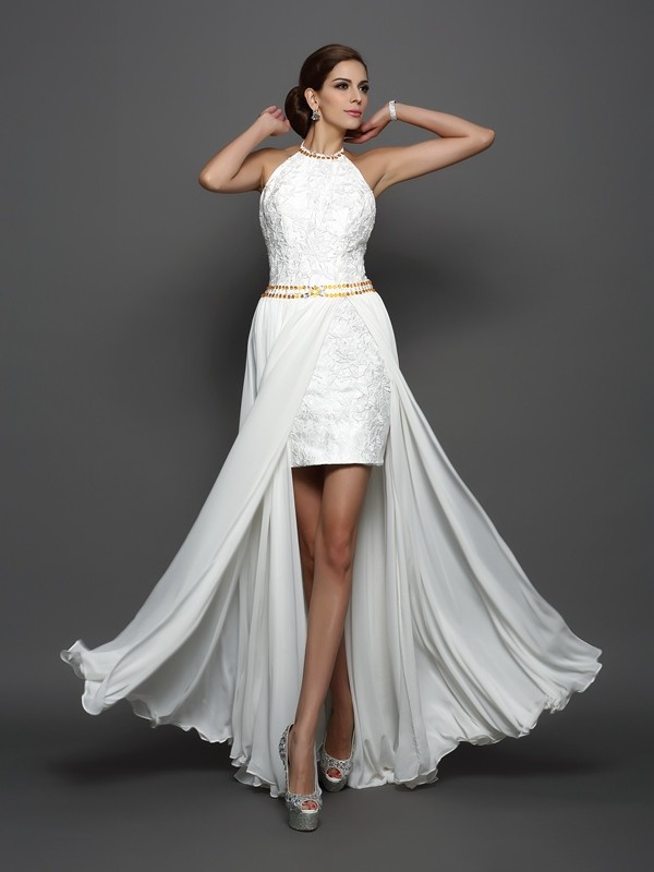 Chapel Train A-Line/Princess High Neck Sleeveless Lace Chiffon Wedding Dresses