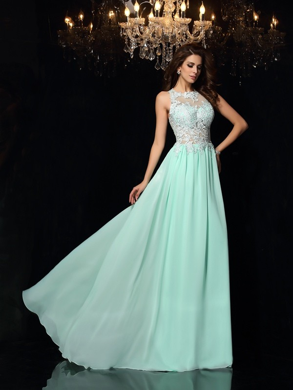 Sweep/Brush Train A-Line/Princess High Neck Sleeveless Applique Chiffon Dresses