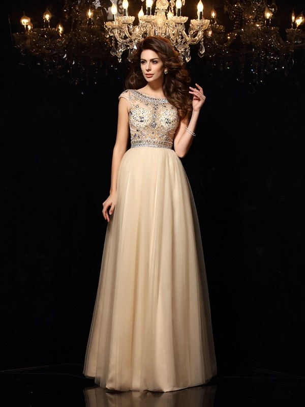 Floor-Length A-Line/Princess Scoop Sleeveless Beading Net Dresses