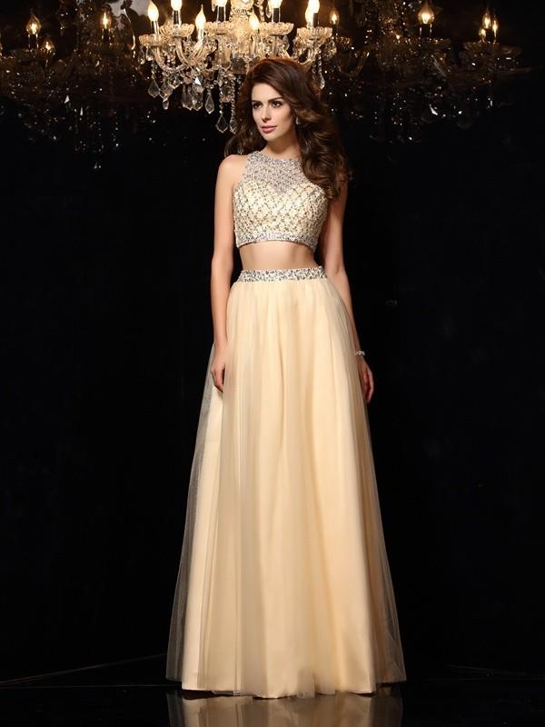 Floor-Length A-Line/Princess High Neck Sleeveless Beading Net Dresses