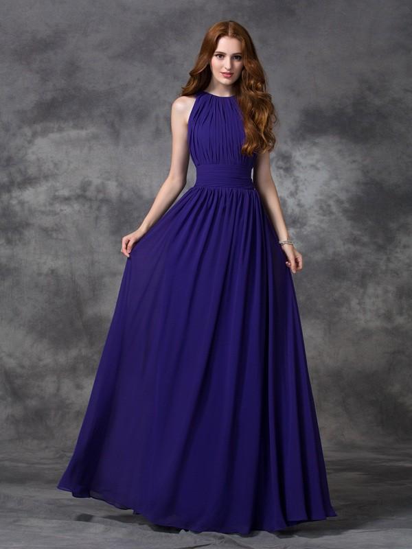 Floor-Length A-Line/Princess Jewel Sleeveless Ruched Chiffon Bridesmaid Dresses