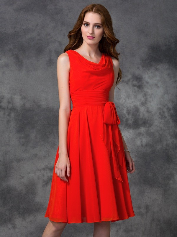 Knee-Length A-Line/Princess Scoop Sleeveless Ruffles Chiffon Bridesmaid Dresses
