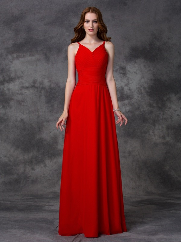 Floor-Length A-Line/Princess Spaghetti Straps Sleeveless Ruffles Chiffon Bridesmaid Dresses