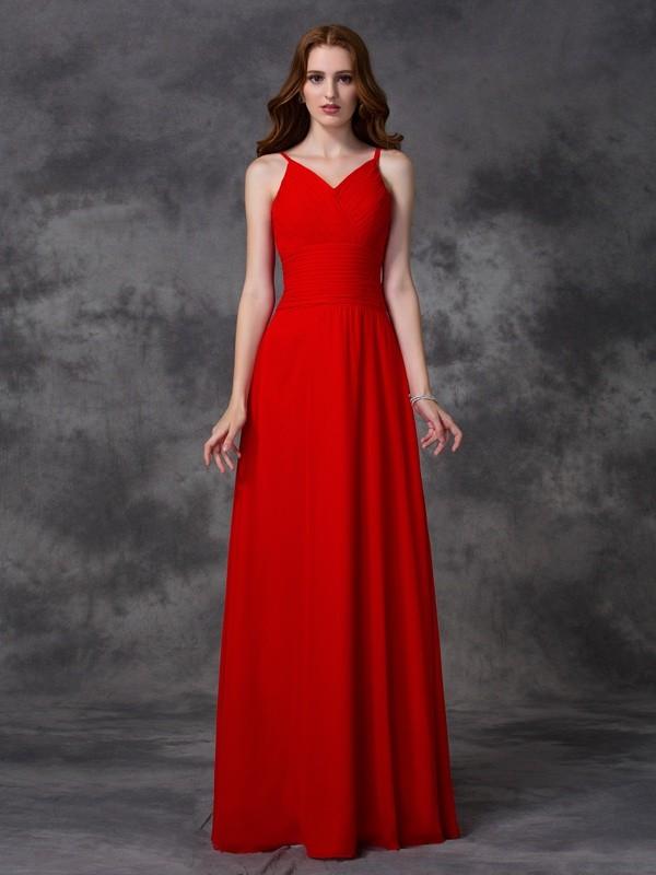 Floor-Length A-Line/Princess Spaghetti Straps Sleeveless Ruffles Chiffon Bridesmaid Dresses