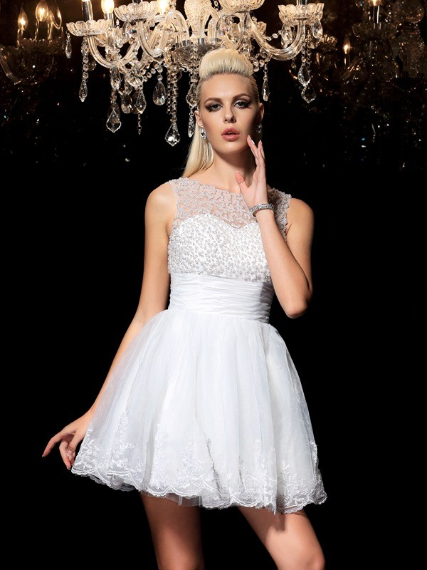Short/Mini A-Line/Princess Sheer Neck Sleeveless Beading Elastic Woven Satin Dresses