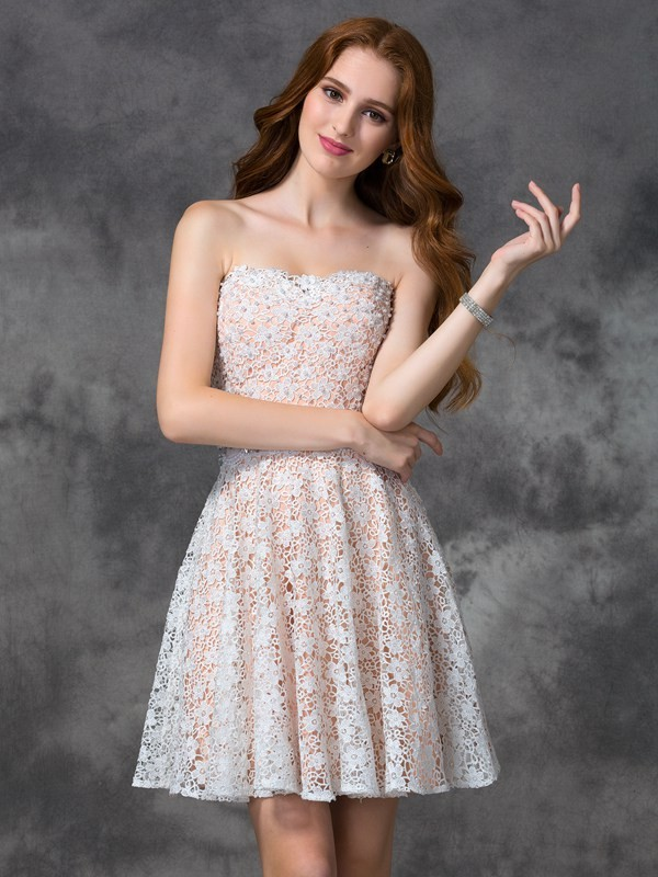 Short/Mini A-Line/Princess Sweetheart Sleeveless Lace Lace Dresses