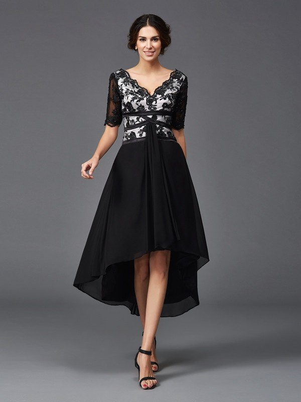 Asymmetrical A-Line/Princess V-neck 1/2 Sleeves Lace Chiffon Dresses