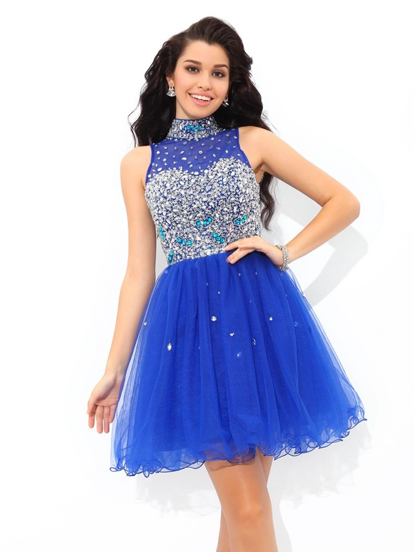 Short/Mini A-Line/Princess High Neck Sleeveless Beading Net Dresses