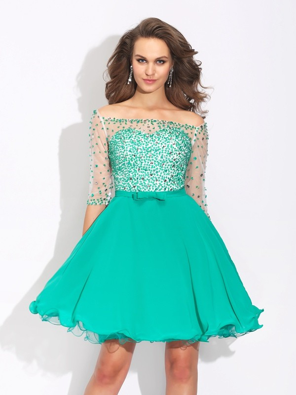 Short/Mini A-Line/Princess Off-the-Shoulder 1/2 Sleeves Beading Chiffon Dresses
