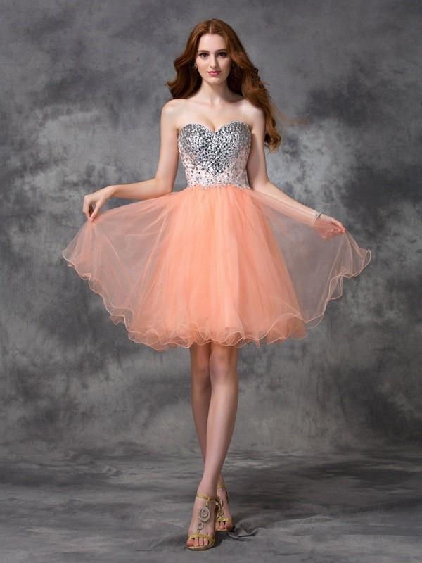 Short/Mini A-Line/Princess Spaghetti Straps Sleeveless Beading Net Dresses
