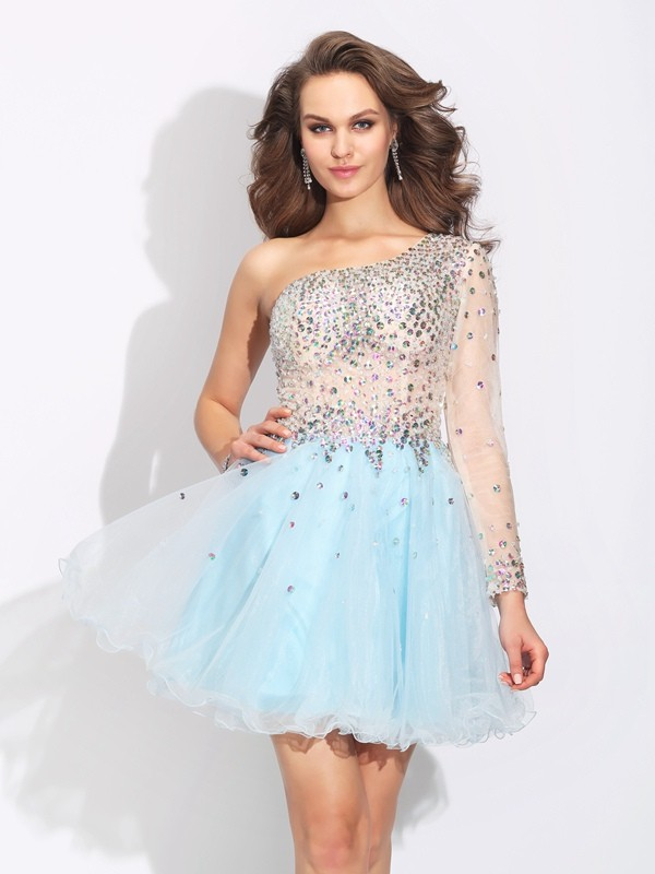Short/Mini A-Line/Princess One-Shoulder Long Sleeves Beading Elastic Woven Satin Dresses
