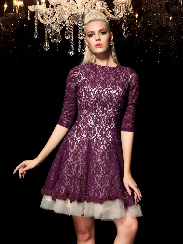 Short/Mini A-Line/Princess Sheer Neck 1/2 Sleeves Lace Lace Dresses