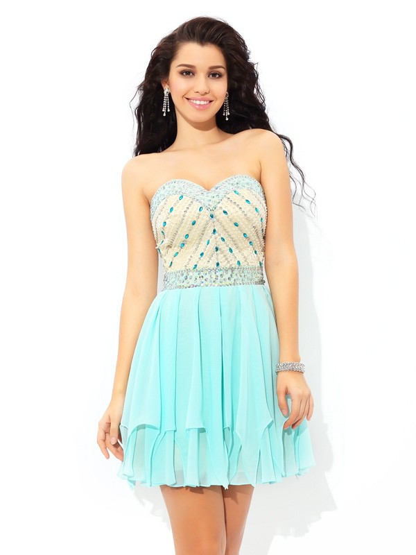 Short/Mini A-Line/Princess Sweetheart Sleeveless Beading Chiffon Dresses