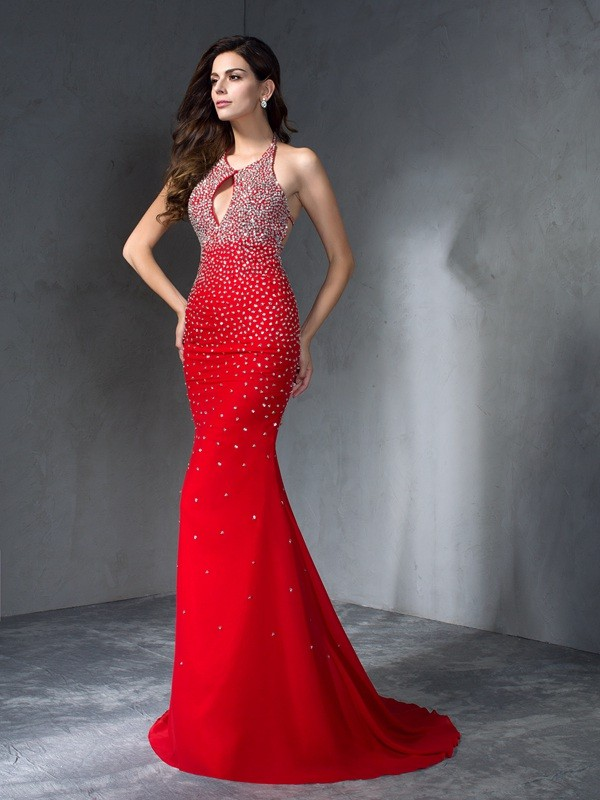 Sweep/Brush Train Trumpet/Mermaid Halter Sleeveless Beading Chiffon Dresses