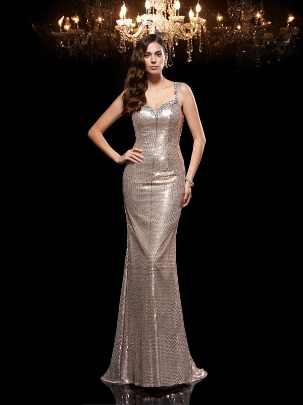 Sweep/Brush Train Sheath/Column Straps Sleeveless Beading Sequins Dresses
