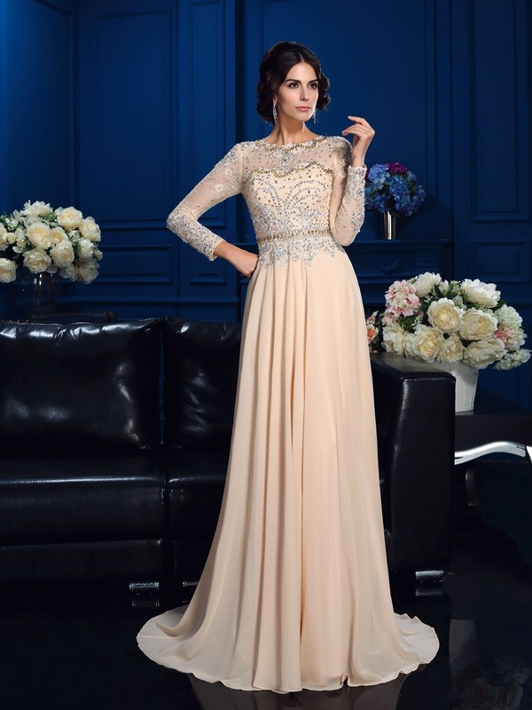 Sweep/Brush Train A-Line/Princess Scoop Long Sleeves Beading Chiffon Mother of the Bride Dresses