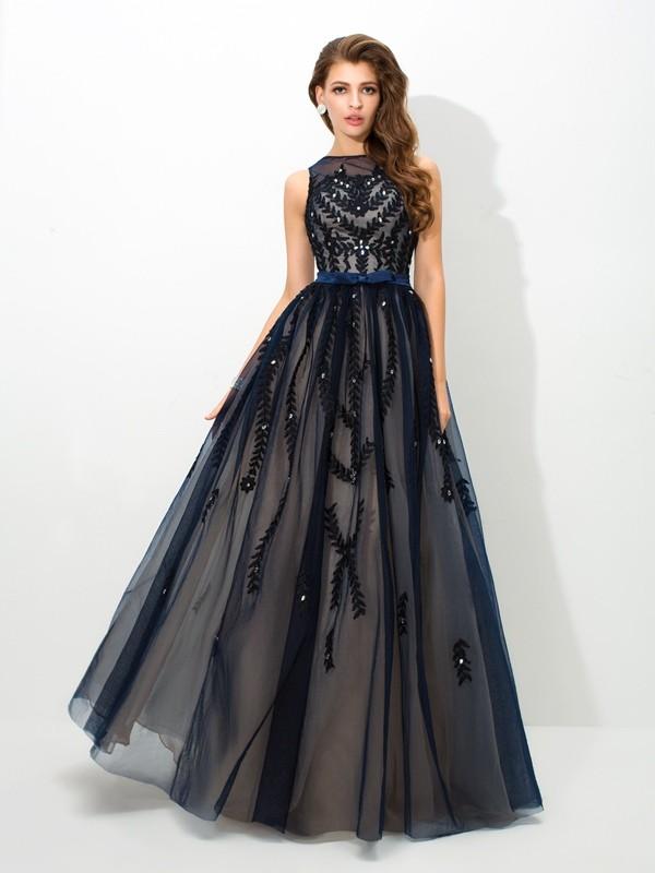 Floor-Length A-Line/Princess Sheer Neck Sleeveless Applique Tulle Dresses