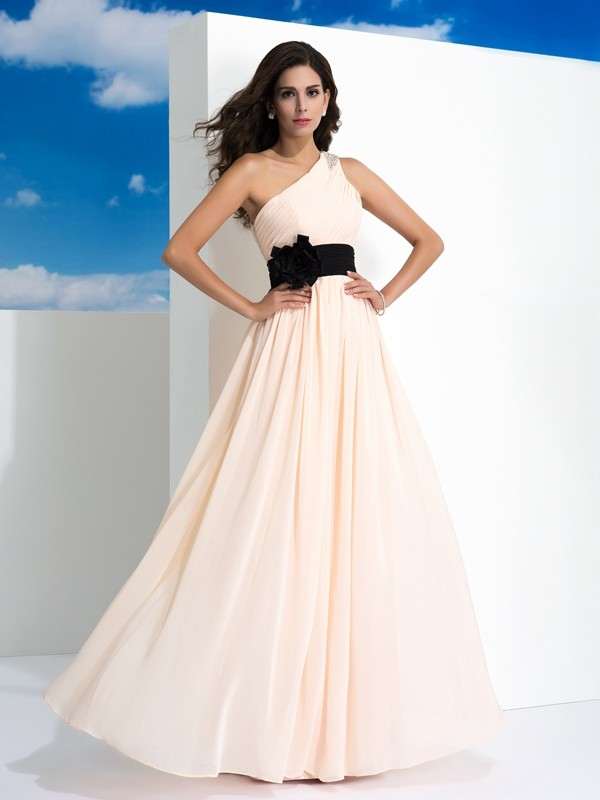 Floor-Length A-Line/Princess One-Shoulder Sleeveless Sash/Ribbon/Belt Chiffon Dresses